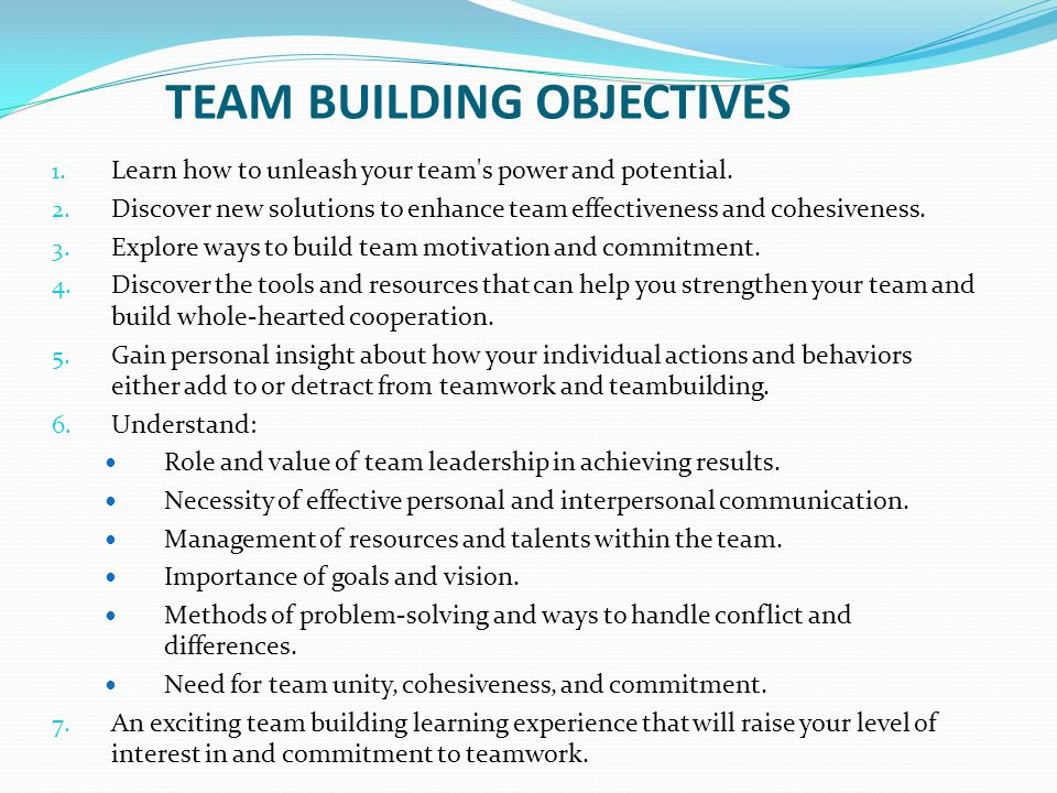 Team Building Purpose And Objectives