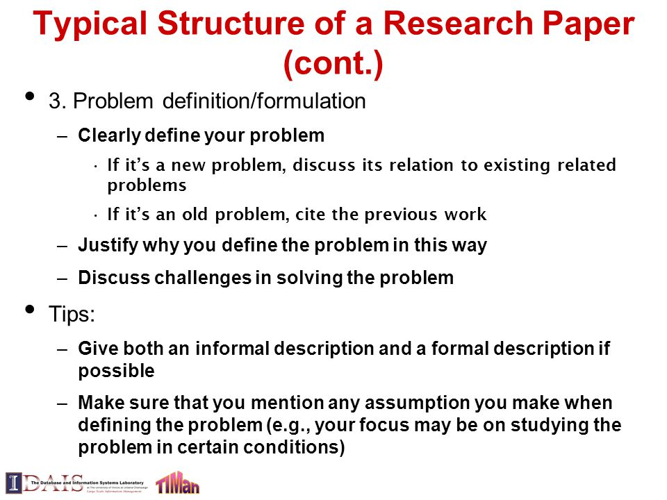 typical structure of a research paper Reports of research studies usually follow the imrad format imrad (introduction, methods, results, [and] discussion) is a mnemonic for the major components of a scientific paper these elements are included in the overall structure outlined below.