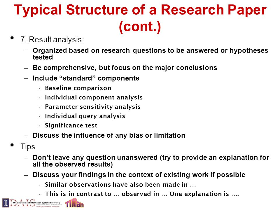 components of a research paper introduction Initially, separating your essay, research or other paper into various components  (introduction, body, conclusion, etc) will help you to stay better organized and.