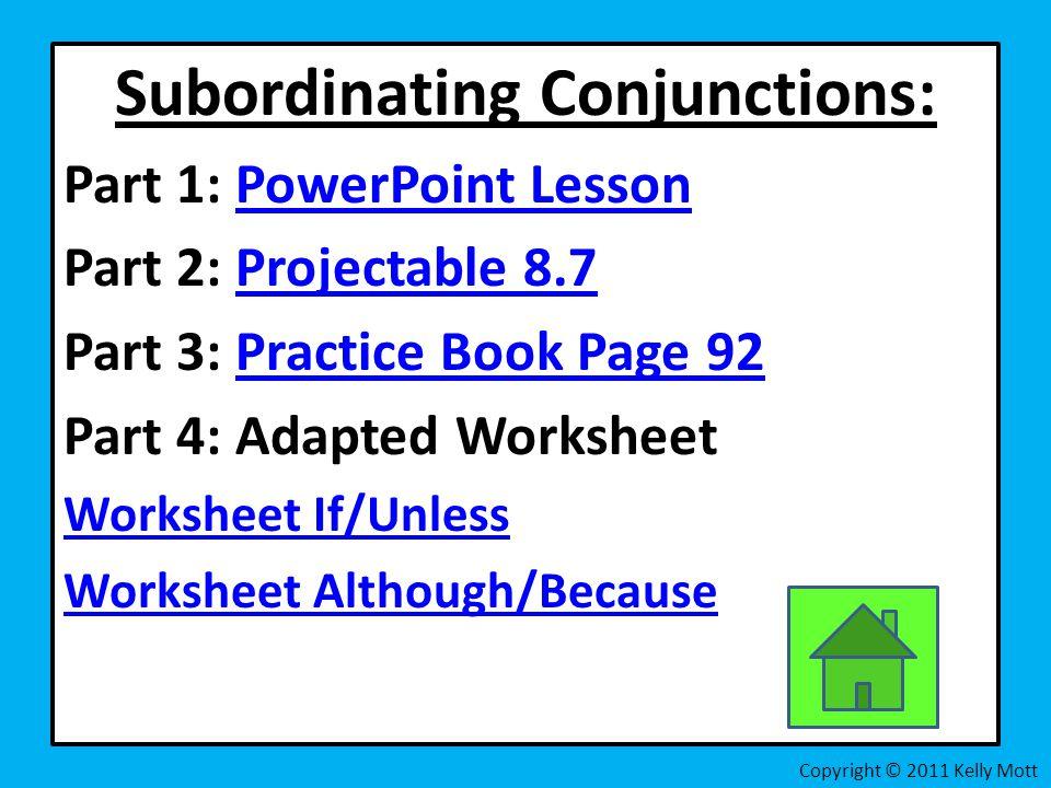 Harcourt Journeys Grammar Skills ppt video online download – Subordinate Conjunctions Worksheet
