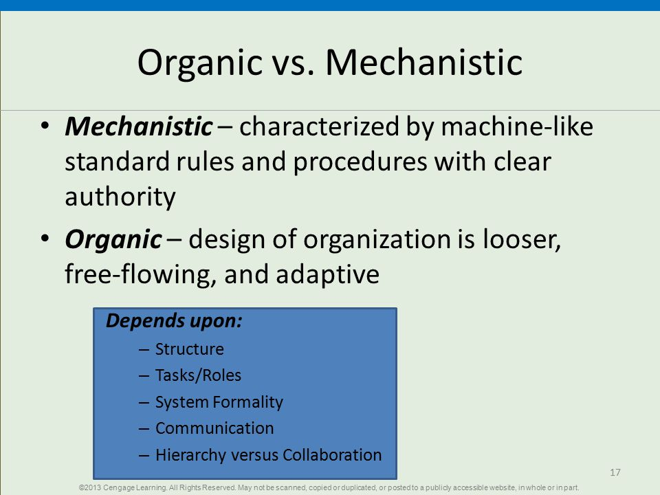 learning in a mechanistic organization Learning organizations montriniki williams omm 625 january 7, 2013 karen pence learning organizations a learning organization is one in which people at all levels.