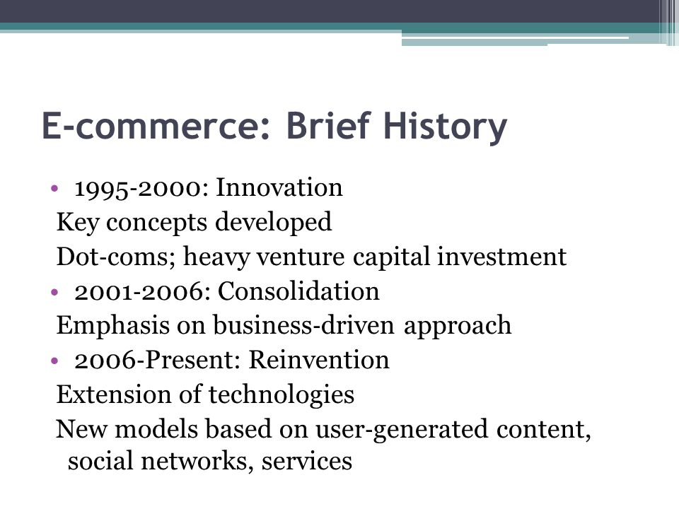 E-commerce: Brief History