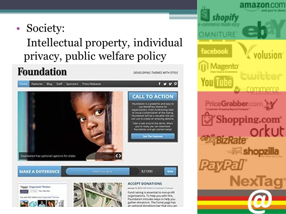 Society: Intellectual property, individual privacy, public welfare policy