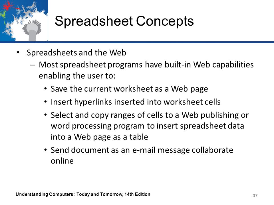 Spreadsheet Concepts Spreadsheets and the Web