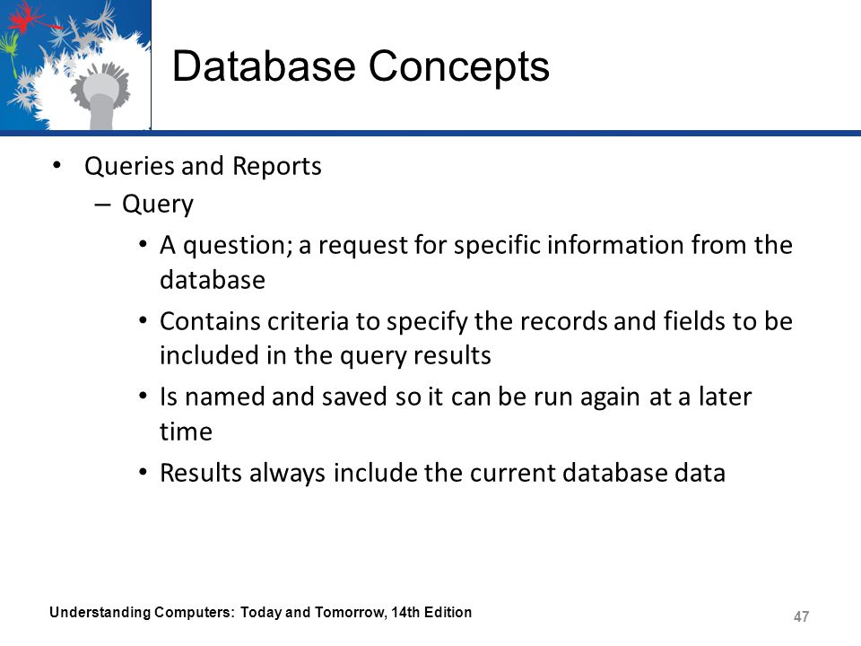 Database Concepts Queries and Reports Query