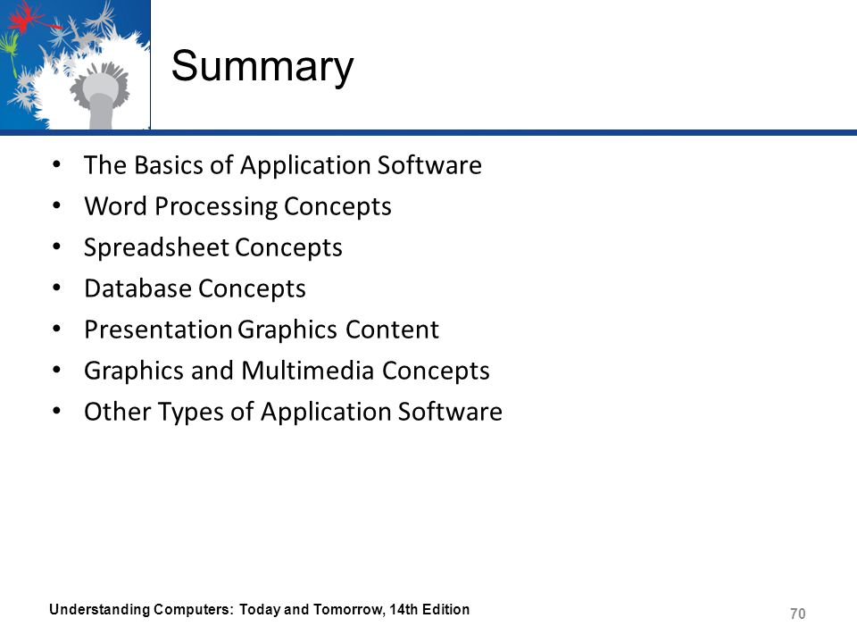 Summary The Basics of Application Software Word Processing Concepts