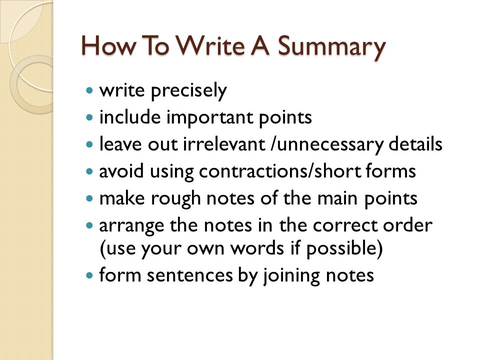 How to Write a Summary of a Book Chapter