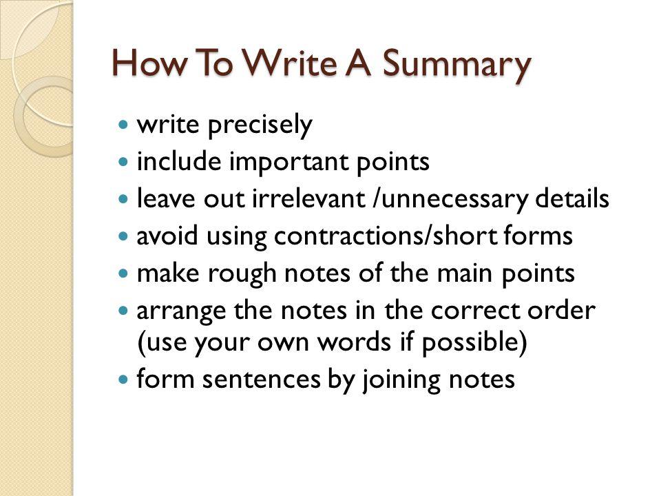 summary writing online