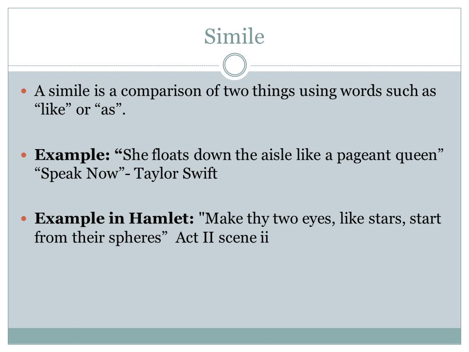 simile in hamlet Video: literary devices used in hamlet this lesson discusses literary devices similes, comparisons using the words 'like' or 'as,' can also be found in hamlet.