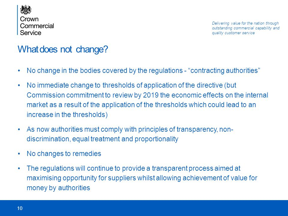 What does not change No change in the bodies covered by the regulations - contracting authorities