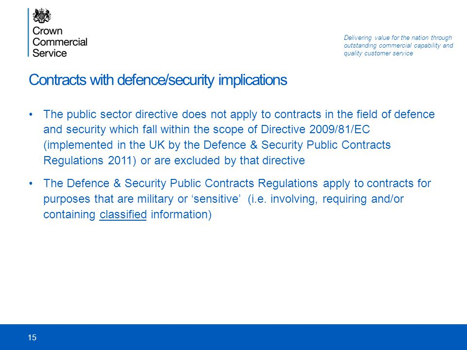 Contracts with defence/security implications