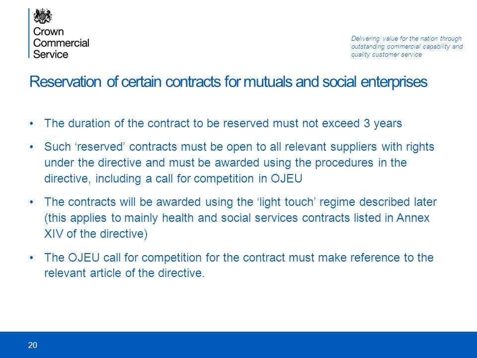 Reservation of certain contracts for mutuals and social enterprises