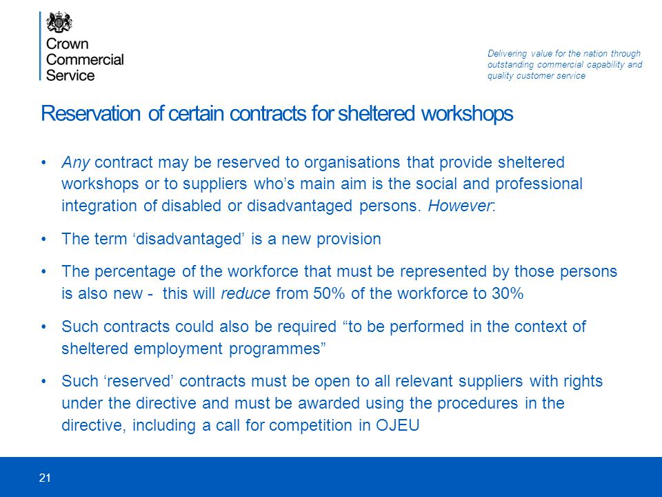 Reservation of certain contracts for sheltered workshops