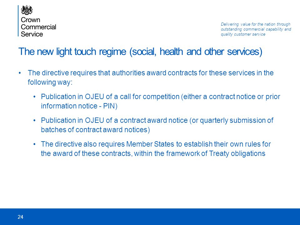 The new light touch regime (social, health and other services)