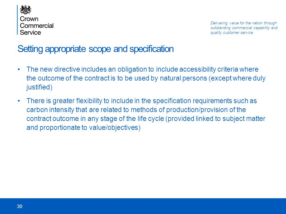 Setting appropriate scope and specification