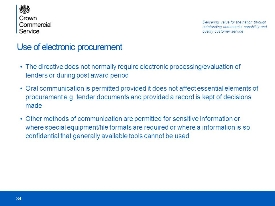 Use of electronic procurement