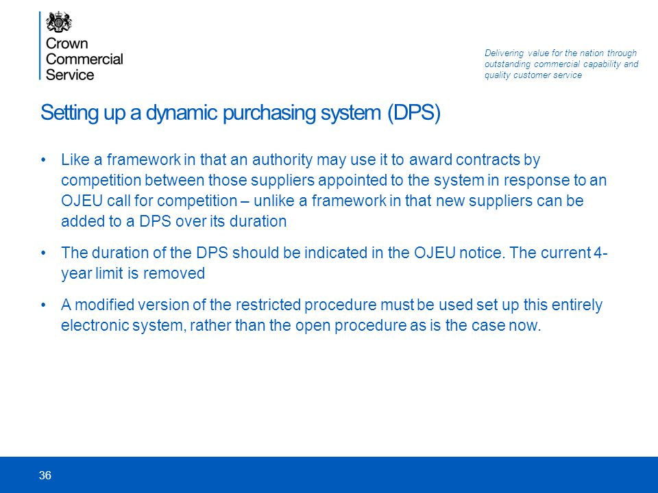 Setting up a dynamic purchasing system (DPS)