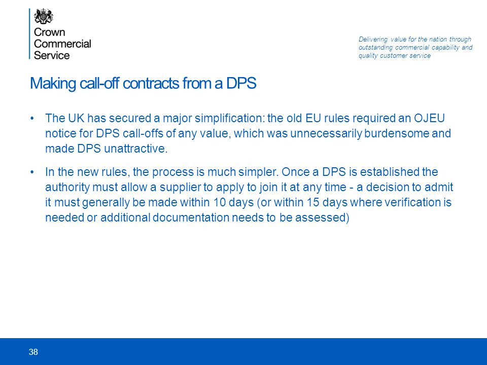 Making call-off contracts from a DPS