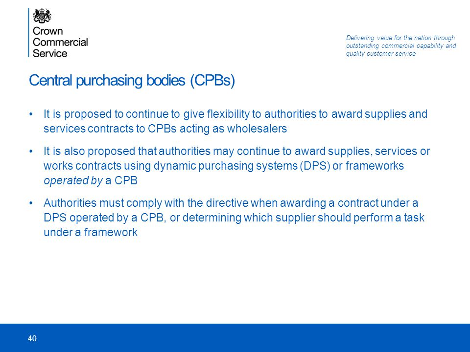 Central purchasing bodies (CPBs)