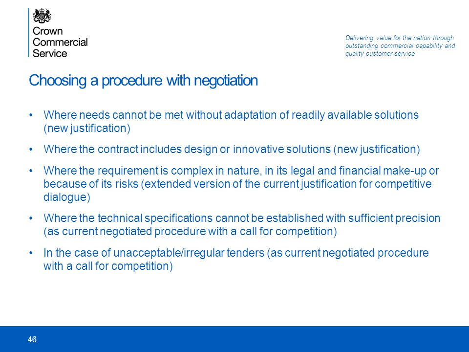 Choosing a procedure with negotiation