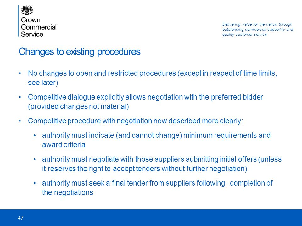 Changes to existing procedures