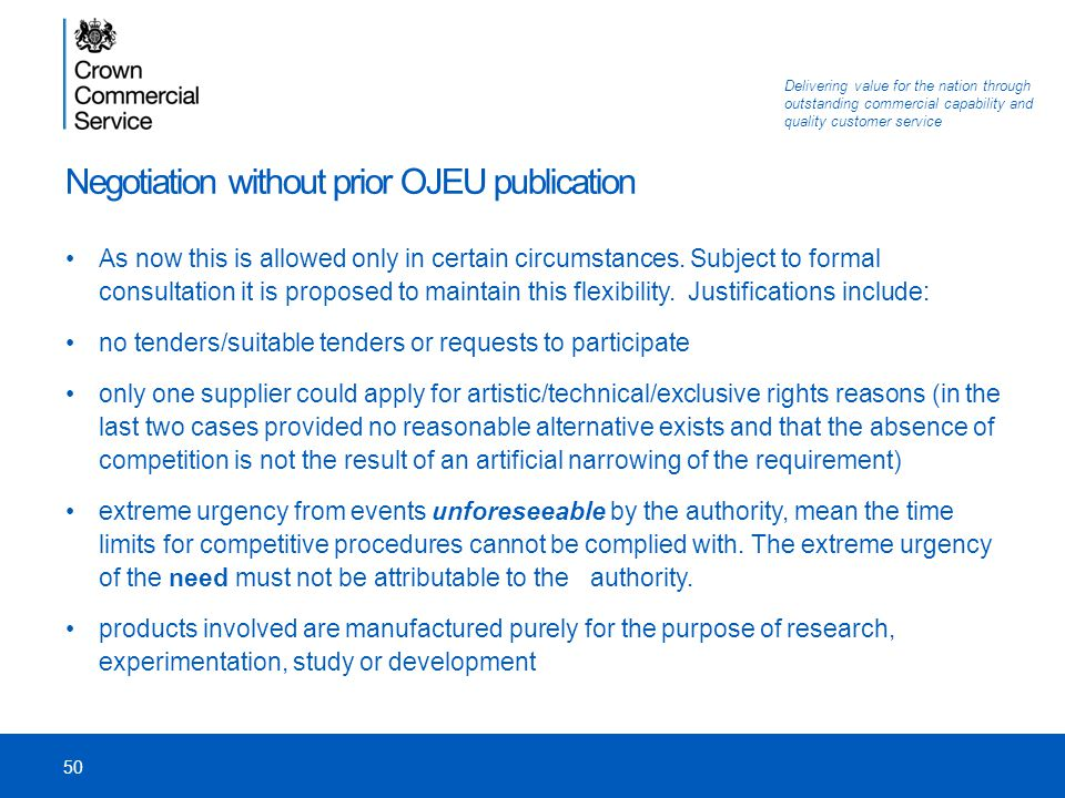Negotiation without prior OJEU publication
