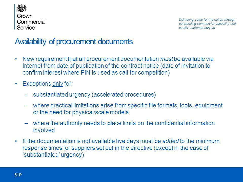 Availability of procurement documents