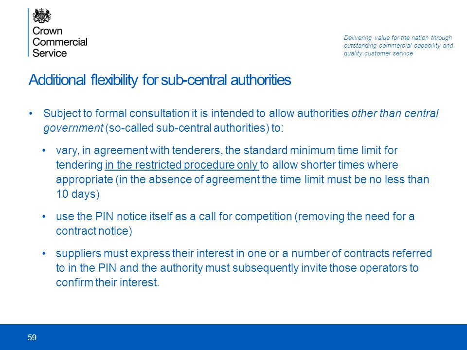 Additional flexibility for sub-central authorities