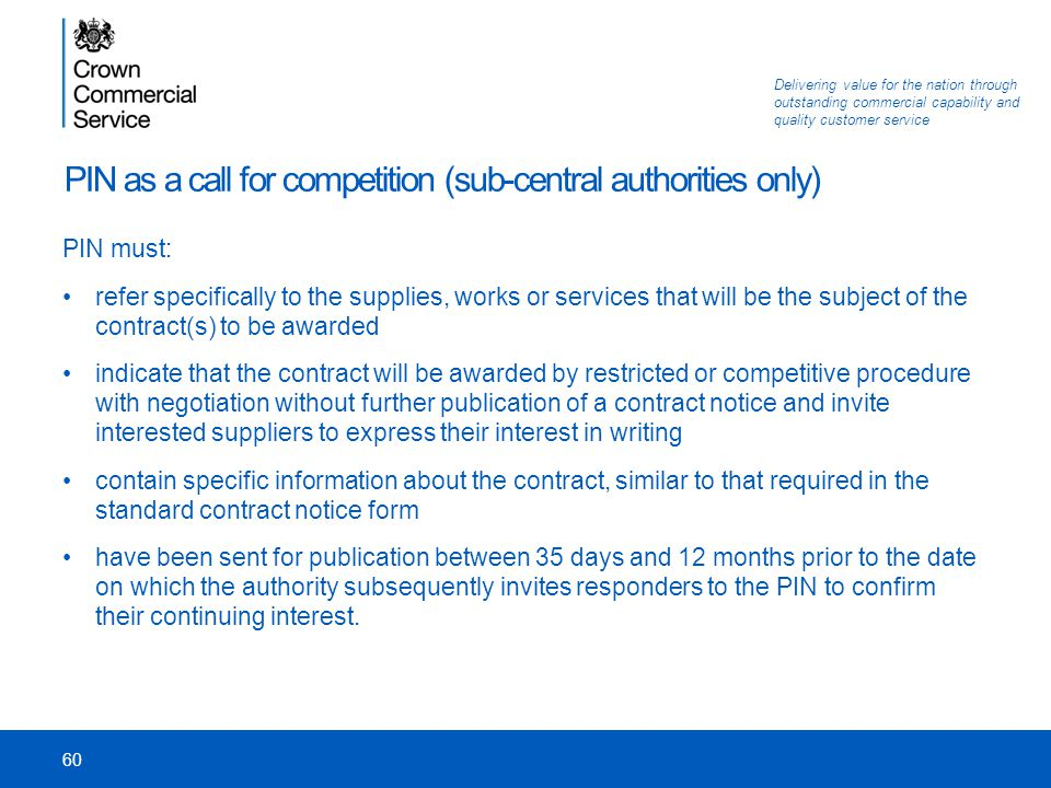PIN as a call for competition (sub-central authorities only)
