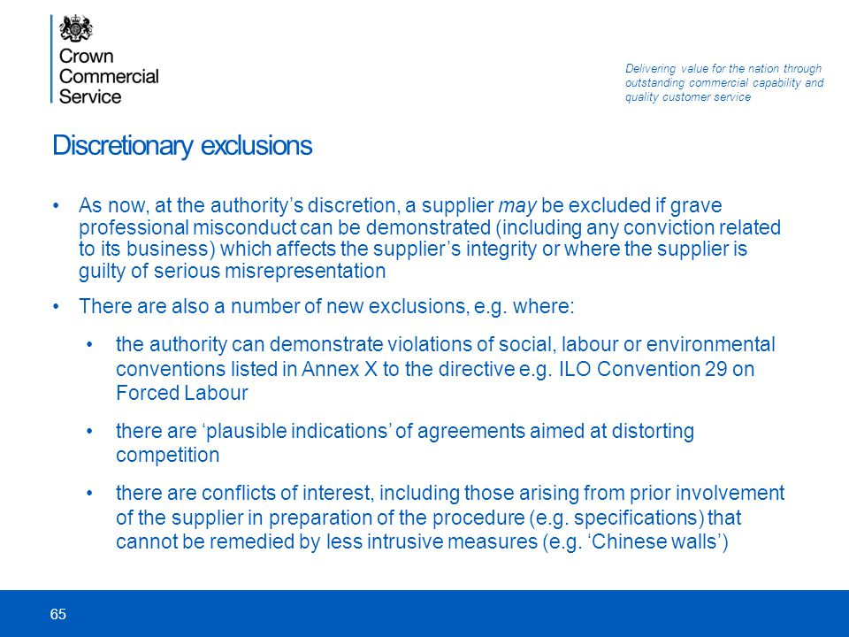 Discretionary exclusions