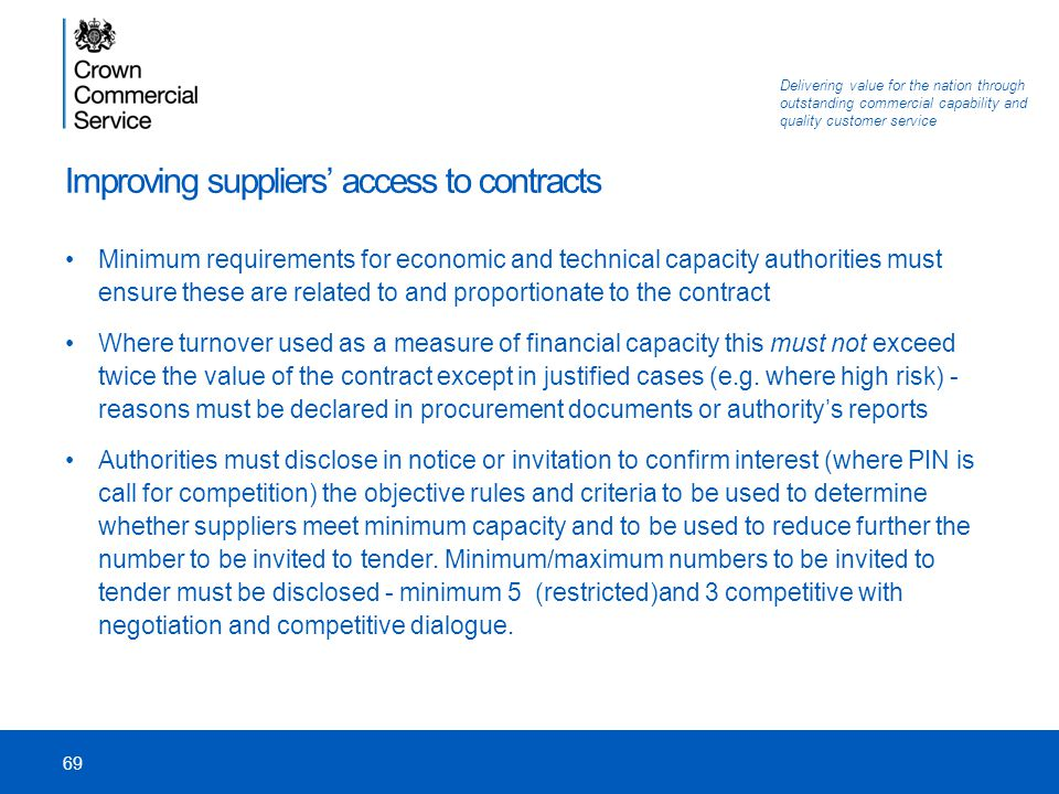 Improving suppliers' access to contracts
