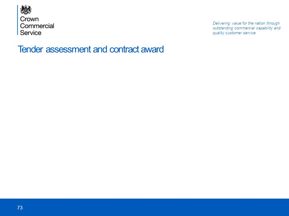 Tender assessment and contract award