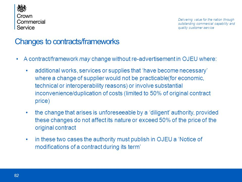 Changes to contracts/frameworks