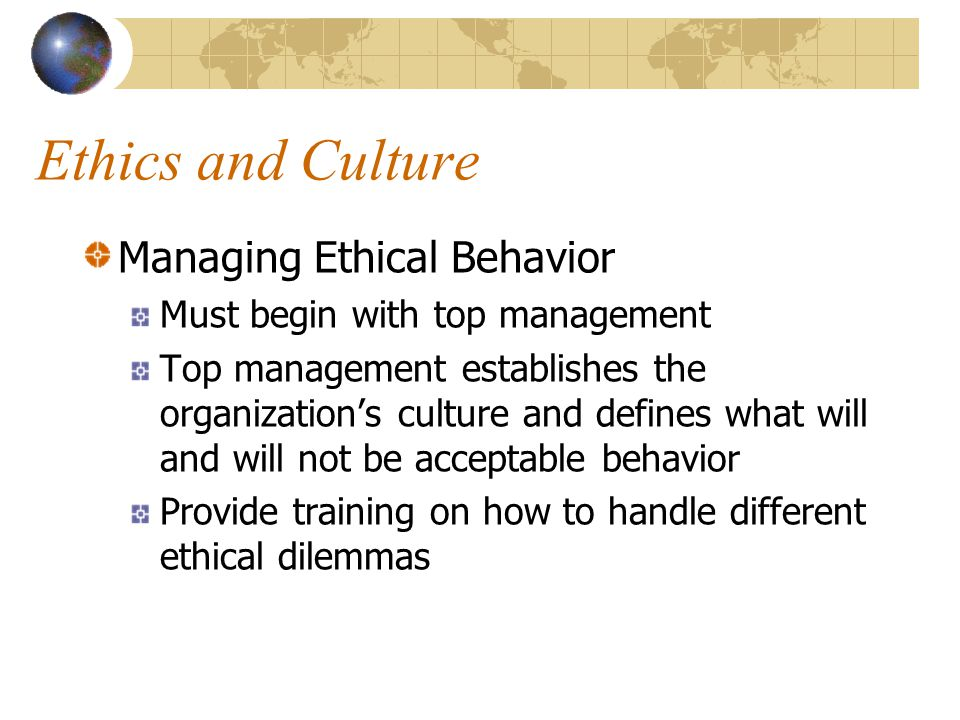 company culture and ethics The role of corporate culture in business ethics john graham vysoká škola manažmentu, trenčín, slovakia abstract: in difficult financial times, companies face various moral issues to try to keep up with their competitors.