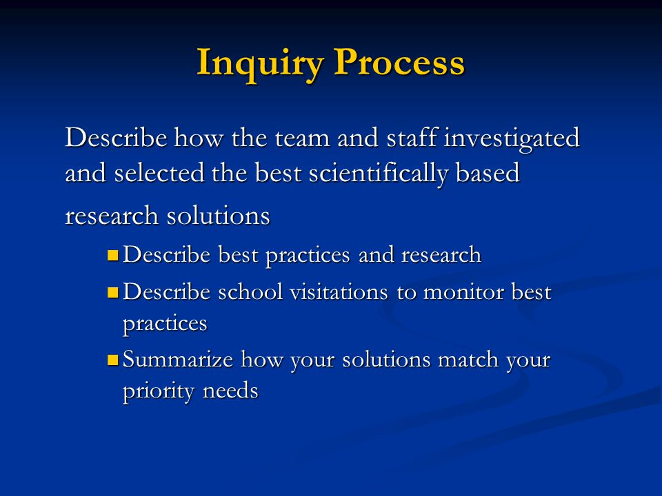 Inquiry Process Describe how the team and staff investigated and selected the best scientifically based.