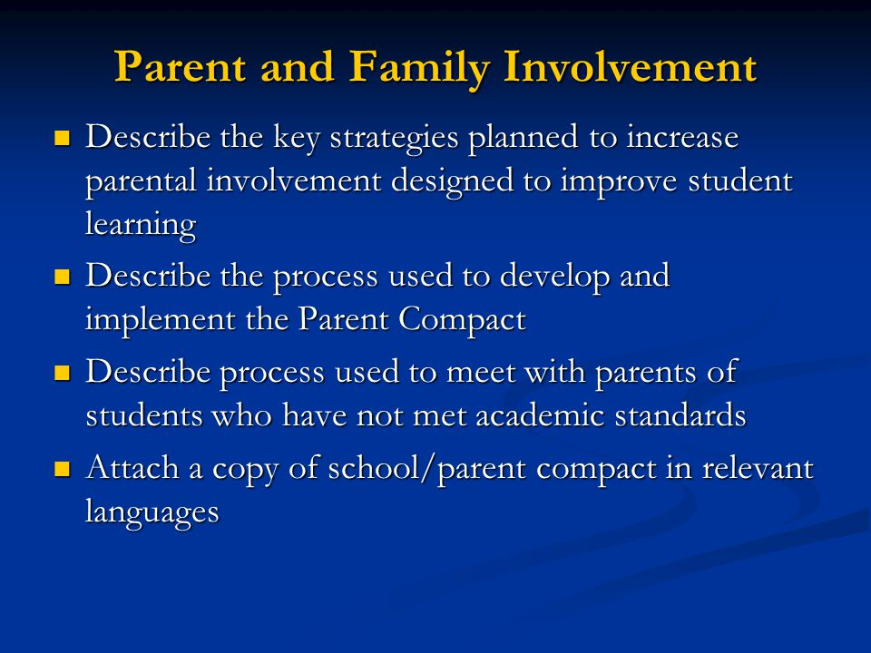 Parent and Family Involvement