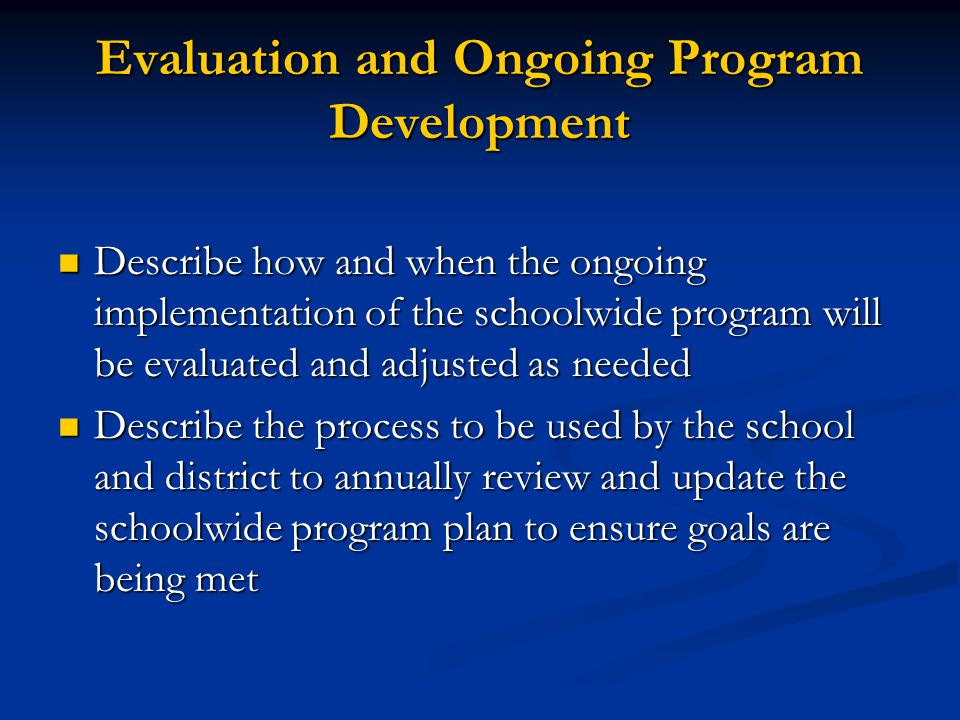 Evaluation and Ongoing Program Development