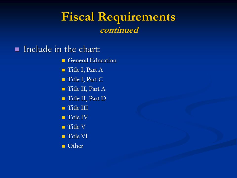 Fiscal Requirements continued