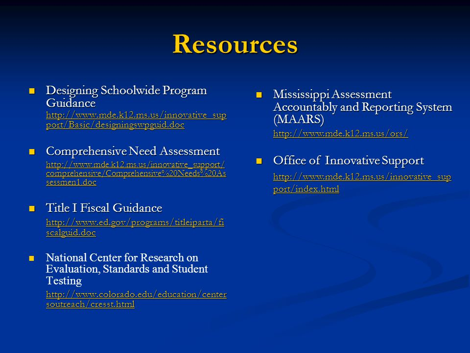 Resources Designing Schoolwide Program Guidance