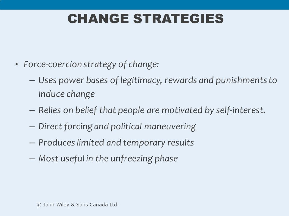 coercive power strategy in nursing Bennis et al (1985 cited by bellman, 2003) identify three strategies of change and these are rational-empirical, power-coercive and normative-re-educative strategies rational-empirical and power-coercive strategies both use top-down approaches while normative-re-educative approach employs a bottom-up approach.