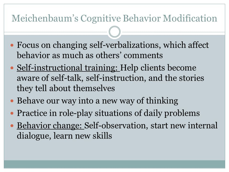 Meichenbaum's Cognitive Behavior Modification