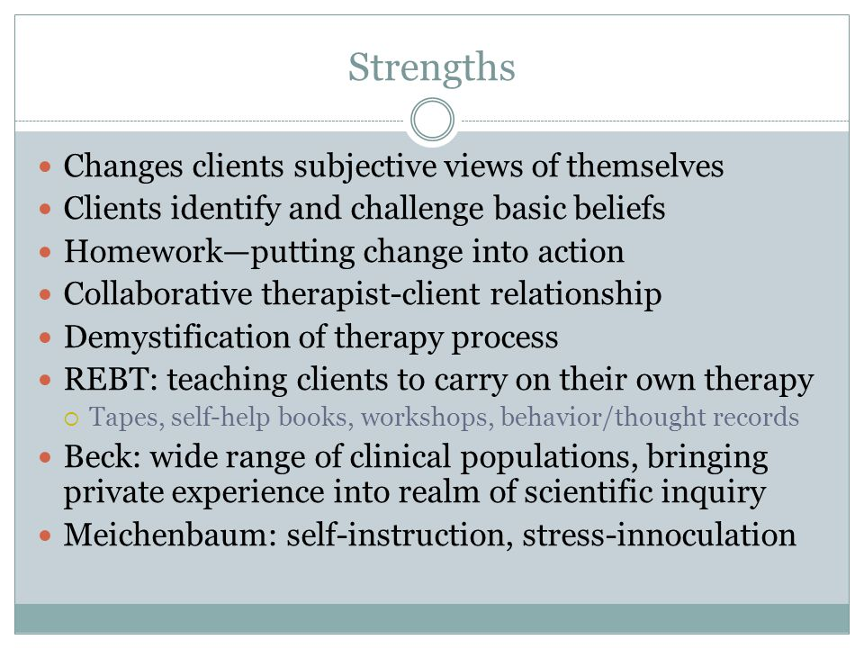Strengths Changes clients subjective views of themselves