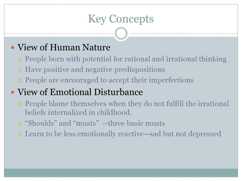 Key Concepts View of Human Nature View of Emotional Disturbance