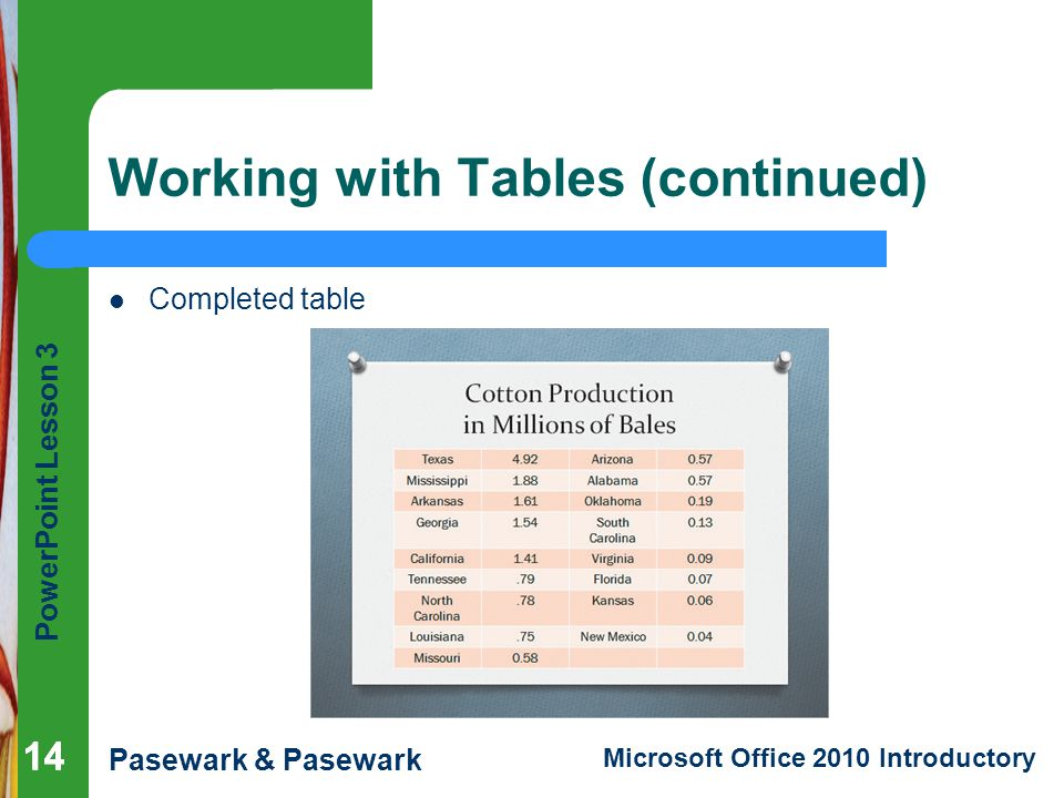 Working with Tables (continued)