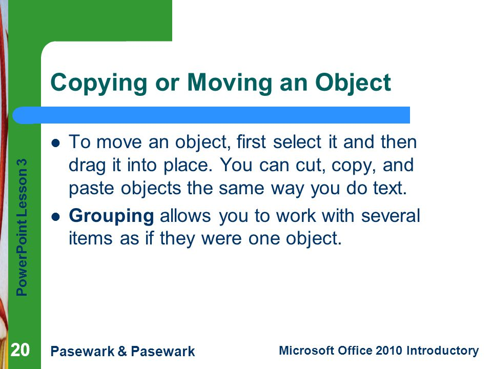 Copying or Moving an Object