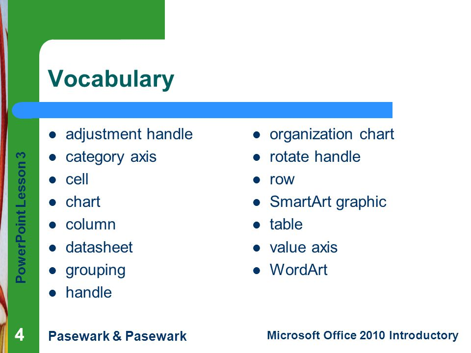 Vocabulary 4 4 adjustment handle category axis cell chart column