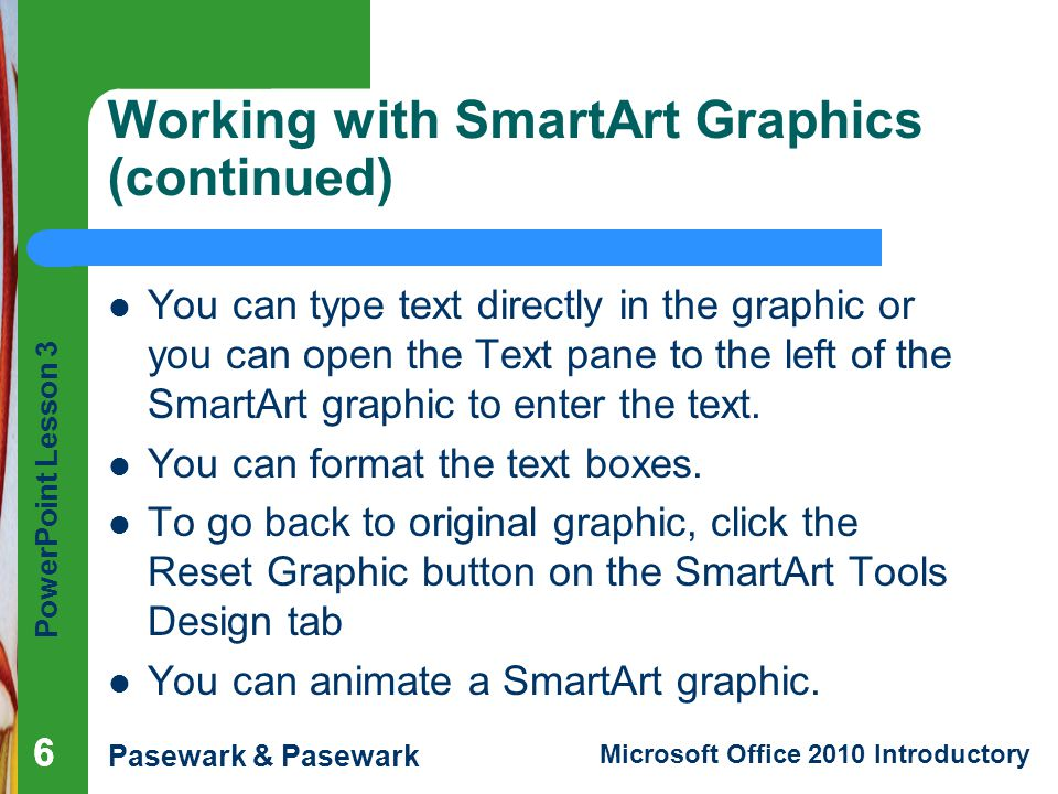 Working with SmartArt Graphics (continued)