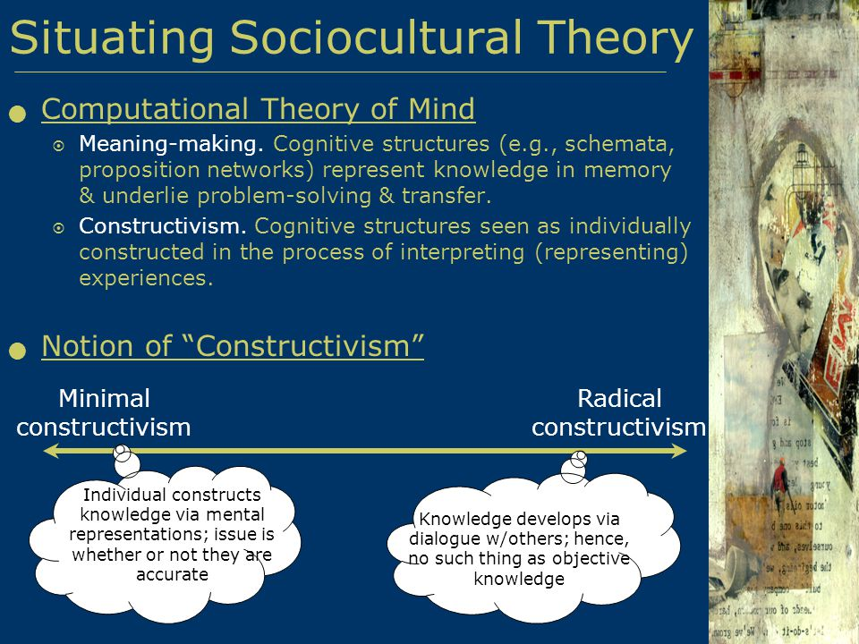 sociocultural constructivism theory essay A sociocultural perspective of learning: developing a new theoretical tenet huy p phan (1978, 1981) sociocultural theory of development despite their distinctive characteristics, the mentioned orientations concur a commonality.
