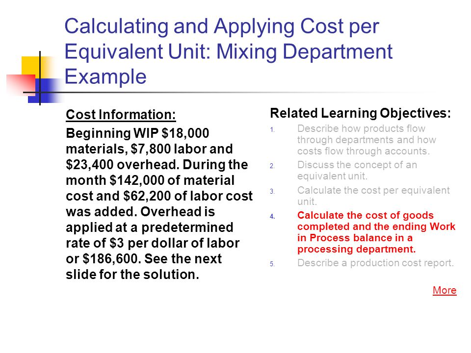 Calculating and Applying Cost per Equivalent Unit: Mixing Department Example