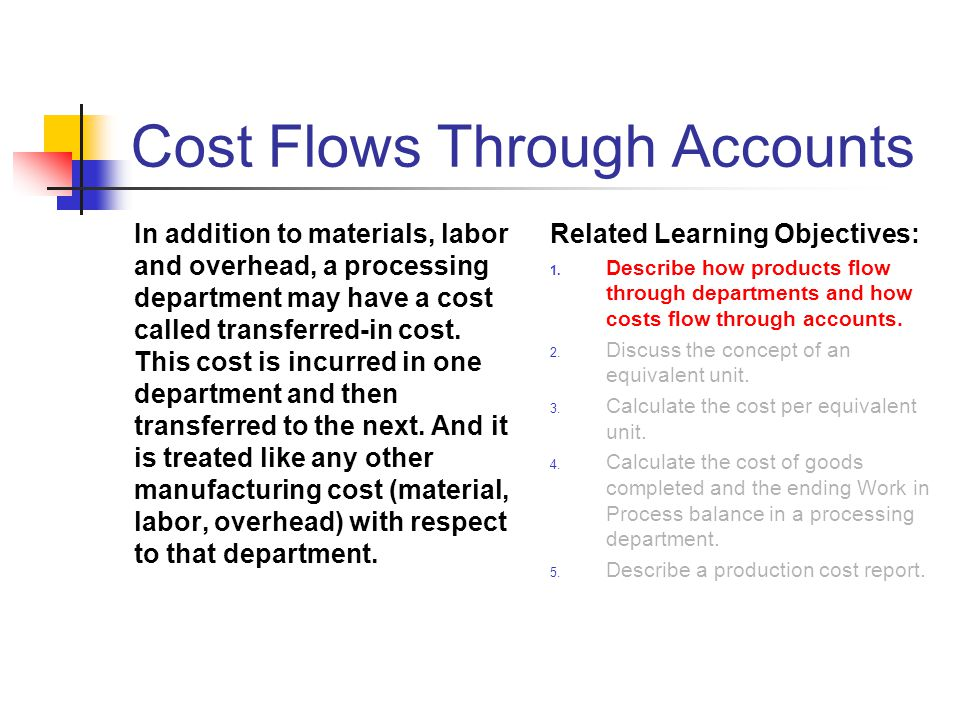 Cost Flows Through Accounts